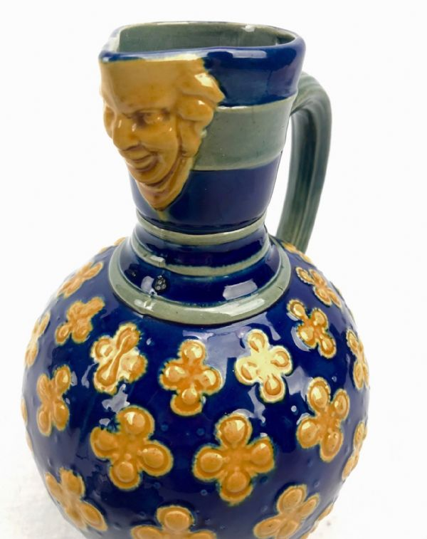 Antique Minton Majolica Jug / Victorian / Blue And Yellow / 19th Century